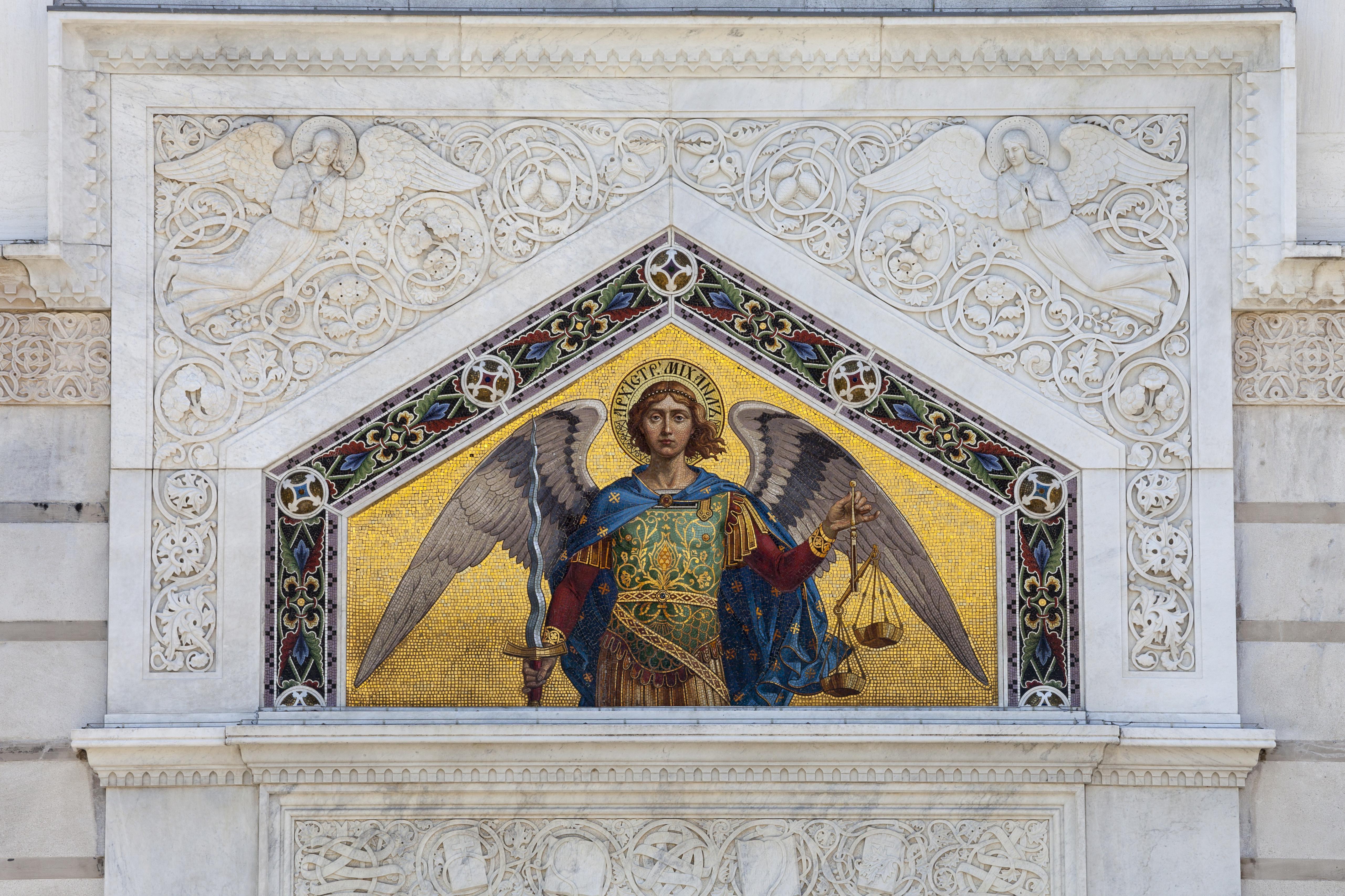 Mosaic on the facade, Serbian Orthodox church Saint Spyridon Church, Piazza Sant Antonio, Trieste, Friuli-Venezia Giulia, Italy