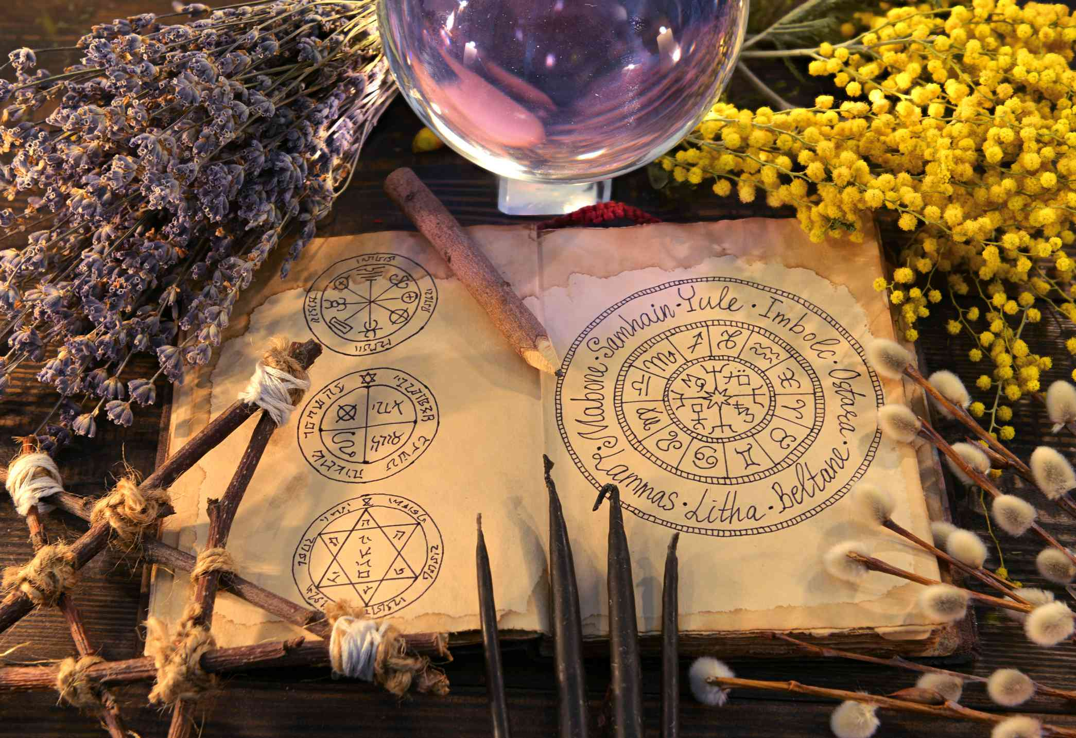 Old book with wiccan holidays chart, pentagram, crystal ball and herbs.