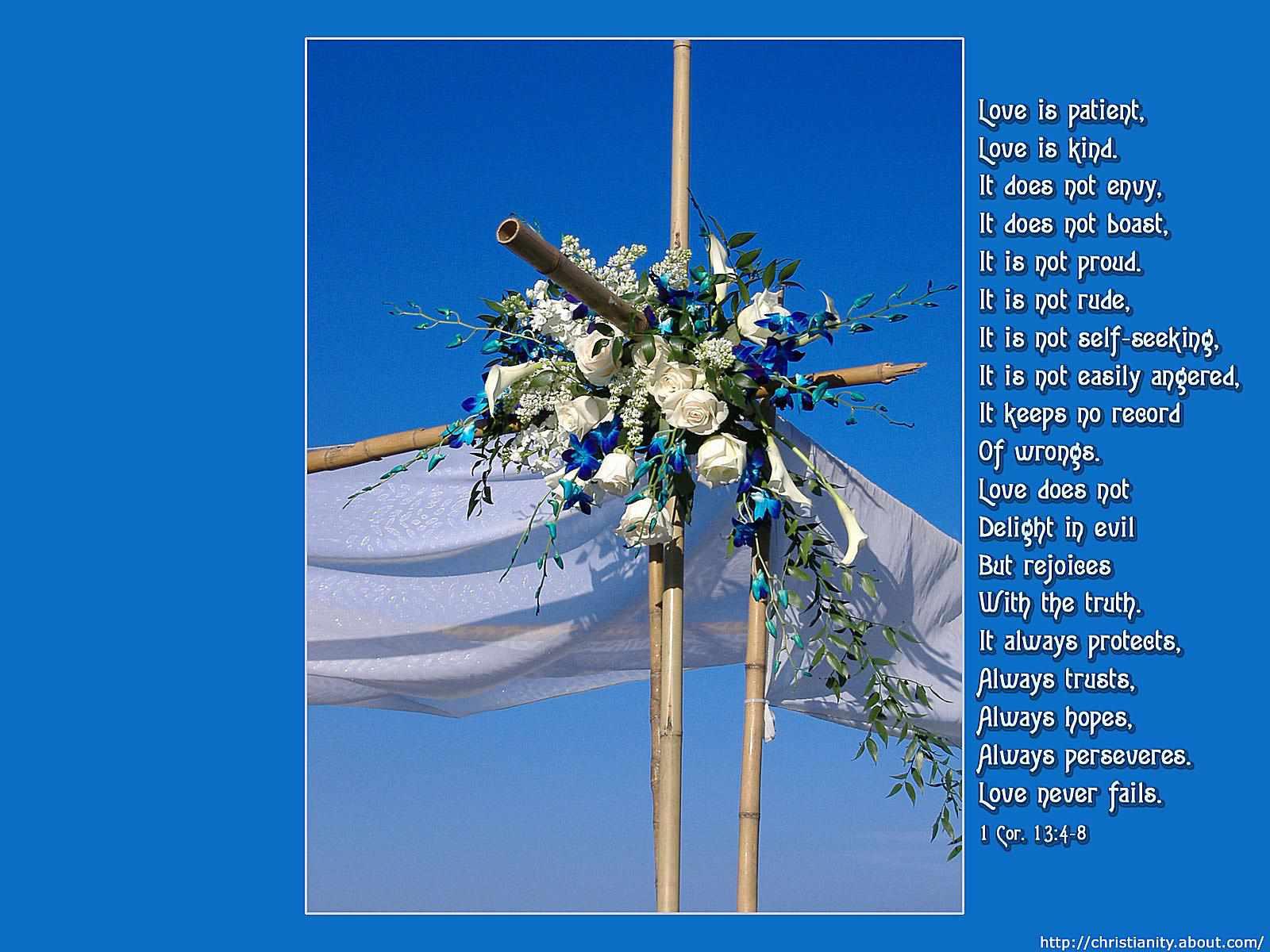 Love is Patient Wedding Cross with bible verse