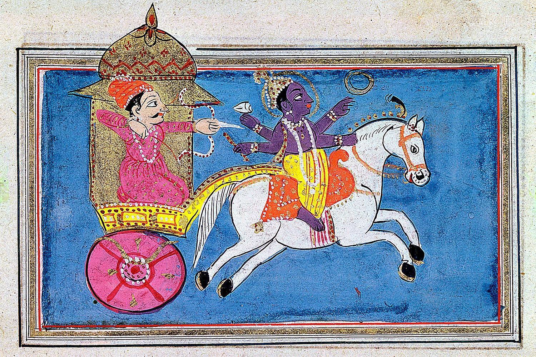 A depiction of Lord Krishna (right), an avatar of Vishnu