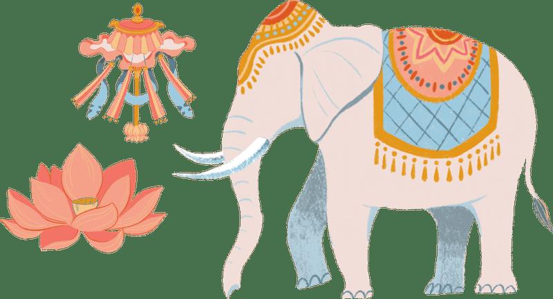 Elephant, lotus, parasol