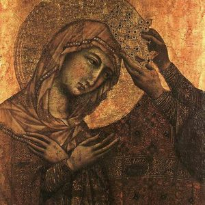 Detail of Coronation of the Virgin (c. 1311), from the Workshop of Duccio di Buoninsegna.