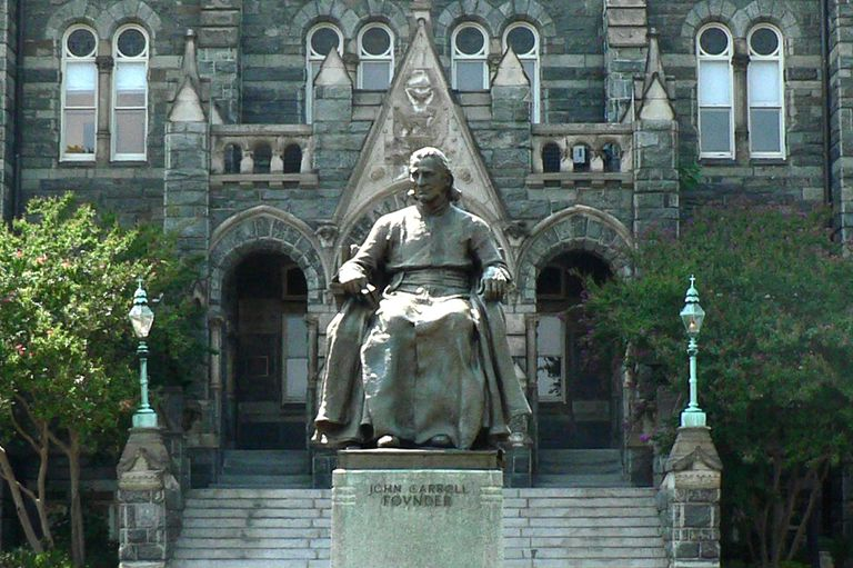 Statue of Archbishop John Carroll in front of Healy Hall at Georgetown University.