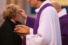 Ash Wednesday receiving the ashes