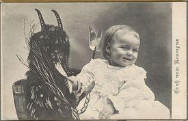 Postcard of Child with Krampus