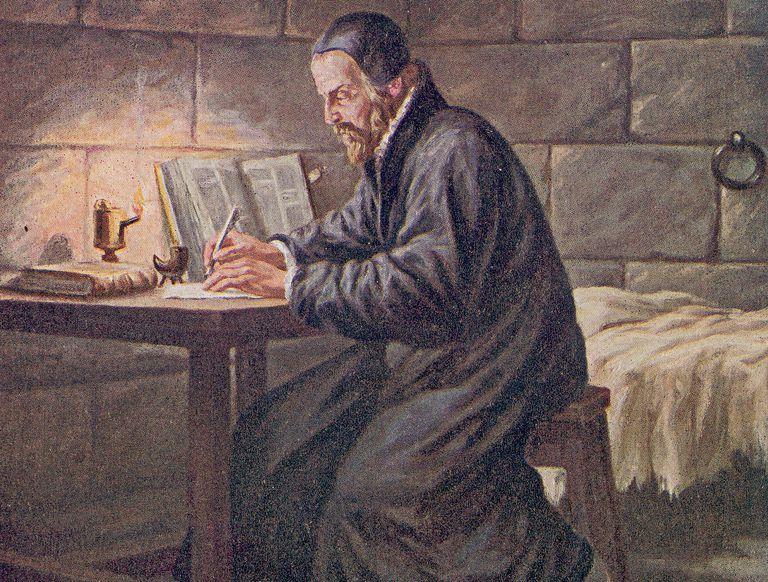 Illustration of William Tyndale while imprisoned at Vilvorde.