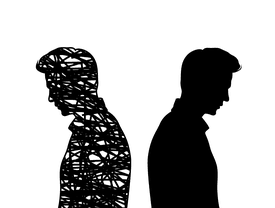 Young man faced away from an identical silhouette.