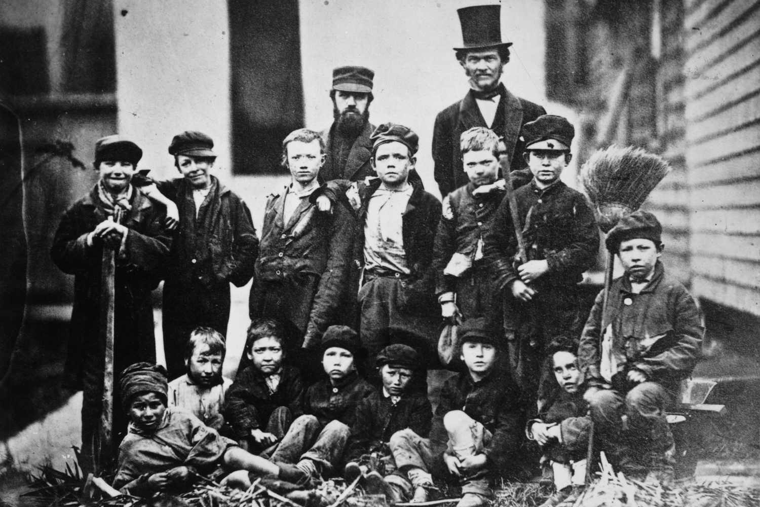 D.L. Moody with a group of orphans.