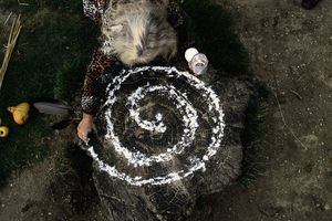 Person making Circle of Energy during ritual