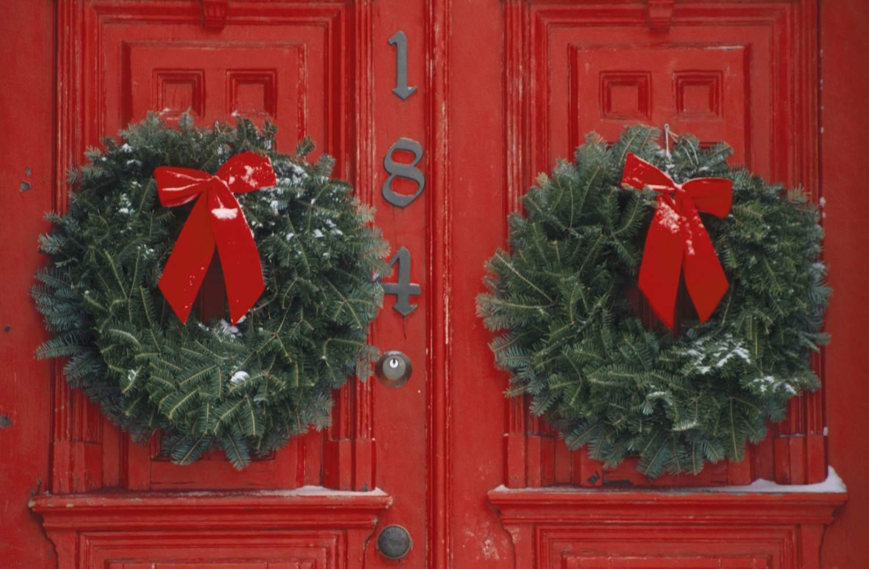 Wreaths on Red Door