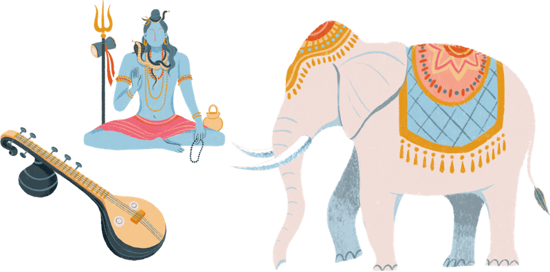 Symbols of Indian religions, including Shiva, Veena, and an elephant.