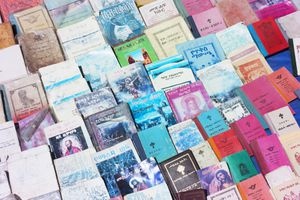 Bibles and other religious books for sale in central Addis Ababa.