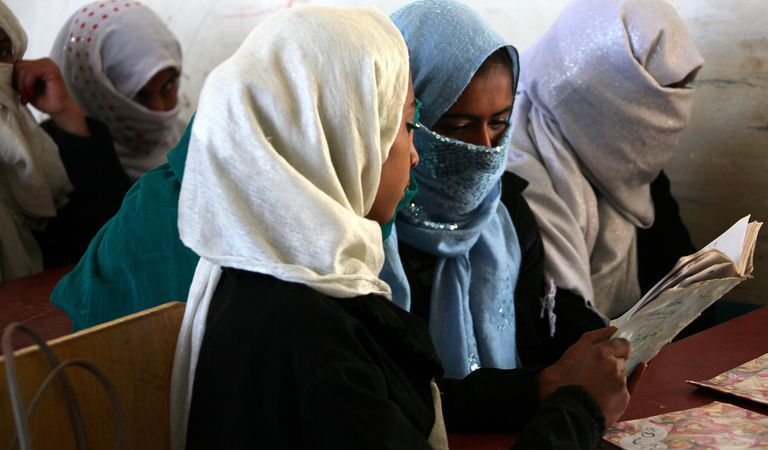 Female students are pictured during the Military Stabilisation Support Team (MSST) visit to Abbazhan School and Women's Centre in Gereshk, Helmand.