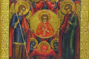 A colorful representation of the archangels from the 19th century