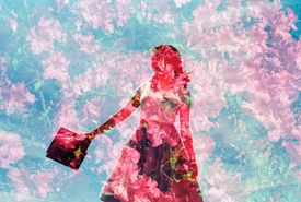 Dream-like photo of flowers and woman