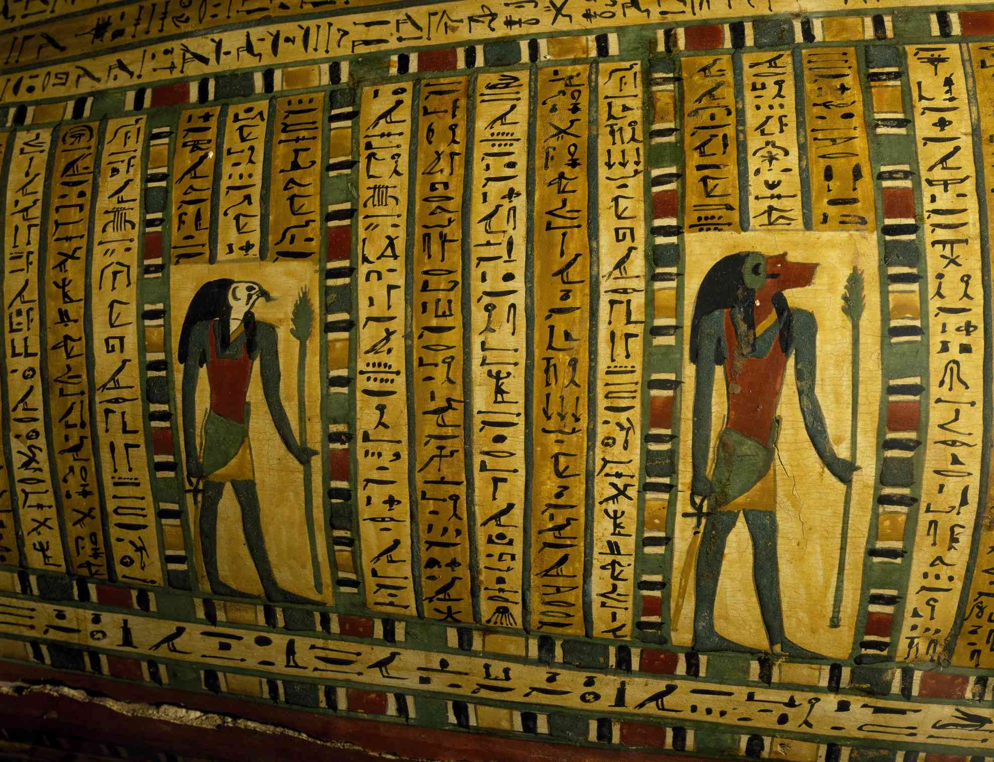 Thoth and Horus, sarcophagus relief