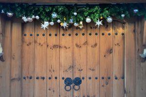 Christmas Decorations Hanging Over Front Door
