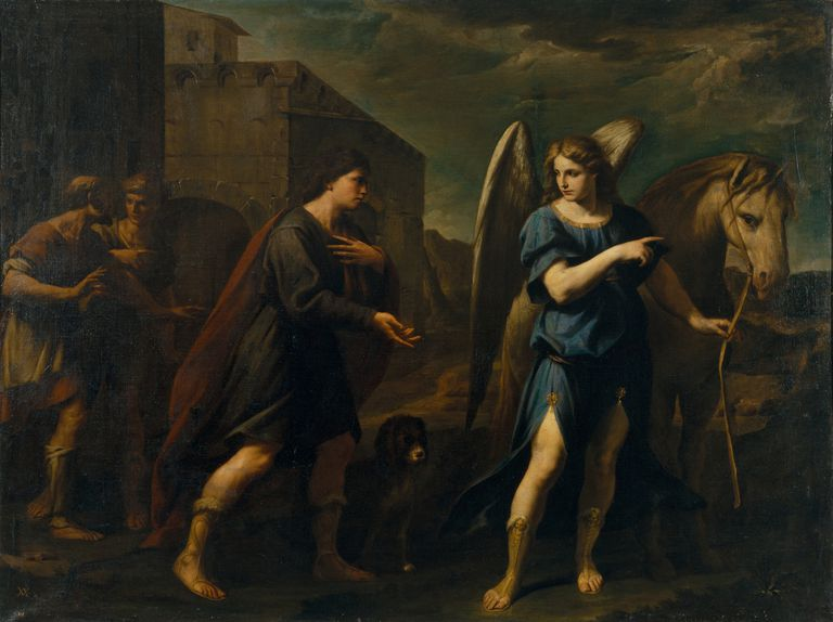 Tobias Meets the Archangel Raphael, c. 1640. Artist: Vaccaro, Andrea (1604-1670)