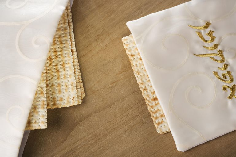 Close up of Matzah under cloth