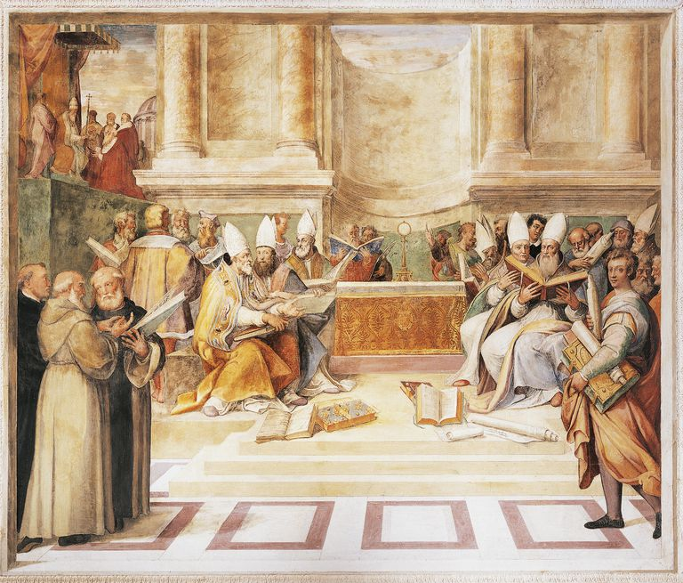 Council of Trent, fresco by brothers Taddeo and Federico Zuccari, in Hall of Farnesina Magnificience of Palazzo Farnese, Caprarola, Italy, 1560-1566