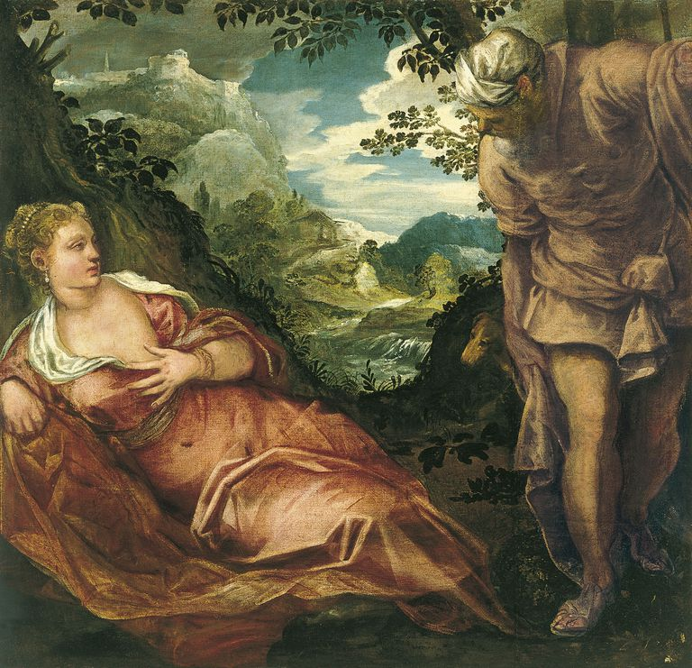 Painting of Judah meeting Tamar, by Tintoretto, Jacopo