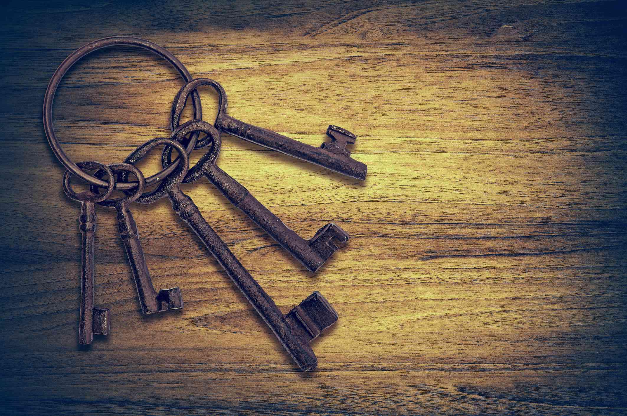 Old door keys wood