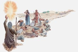 Moses talking to God after Israelites have rejected the Promised Land, only Joshua and Caleb are spared.