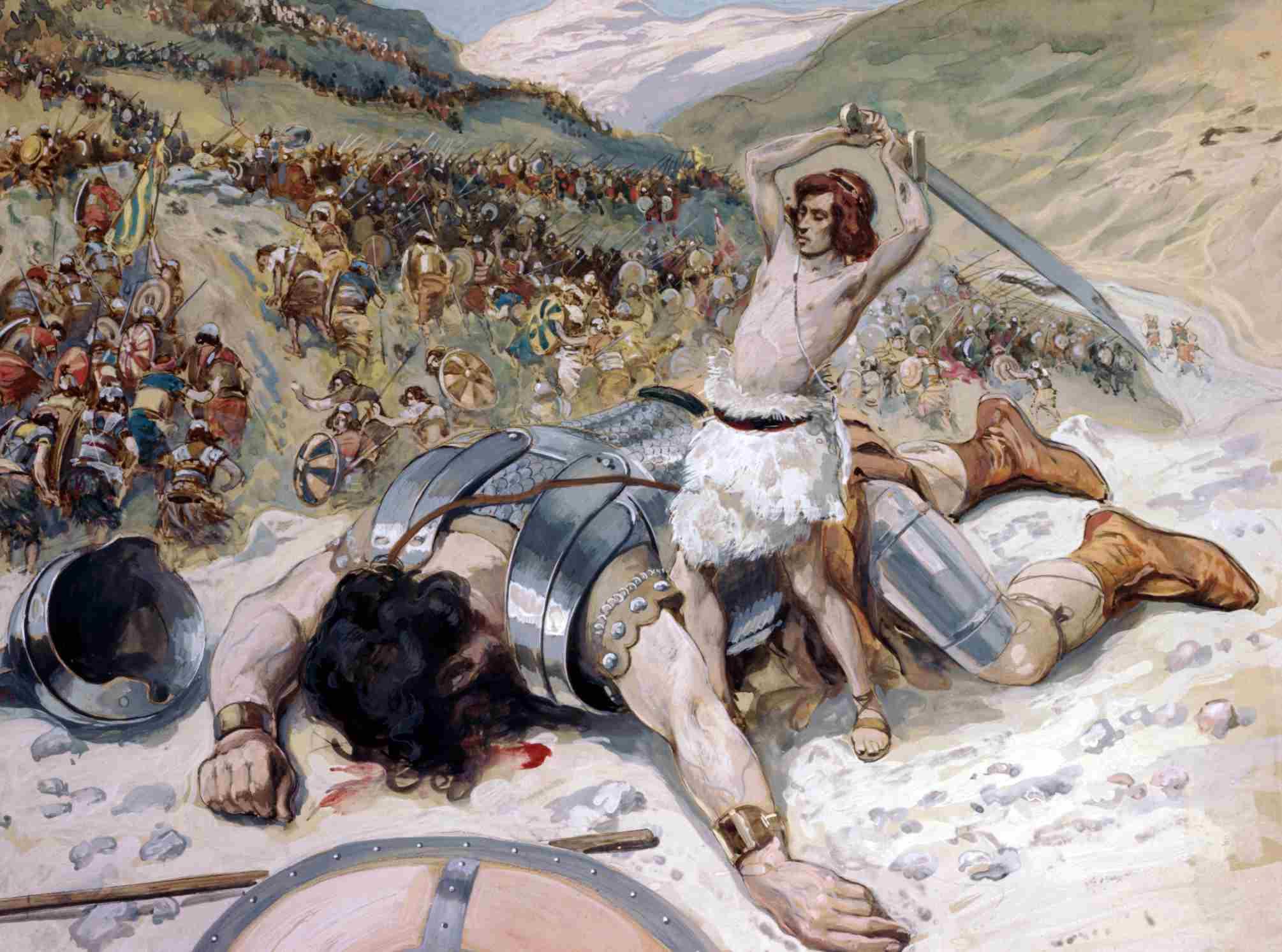 An illustration of David conquering Goliath.