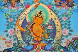 Tibetan Thangka painting of Manjusri