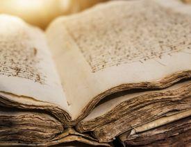 Spain, Mallorca, Library in monastery, Valldemossa, Ancient manuscript