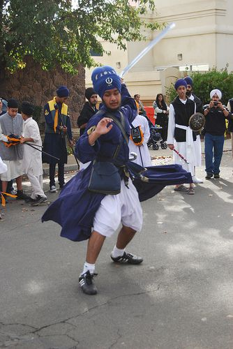 Traditional Sikh Warrior Demonstrates Gatka Martial Arts in Yuba City Annual Sikh Parade