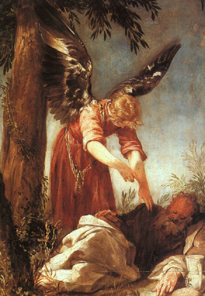 Painting of the Angel of the Lord with prophet Elijah