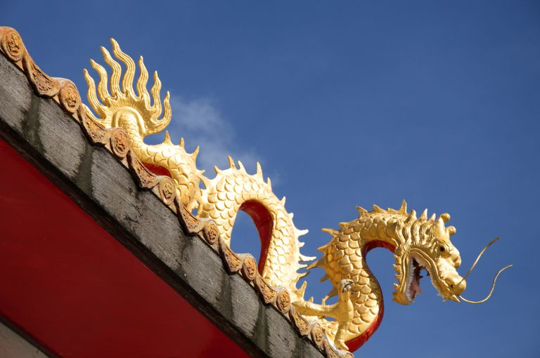 A Naga on the Roof of a Thai Temple