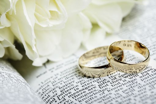 Wedding rings next to roses on a bible.
