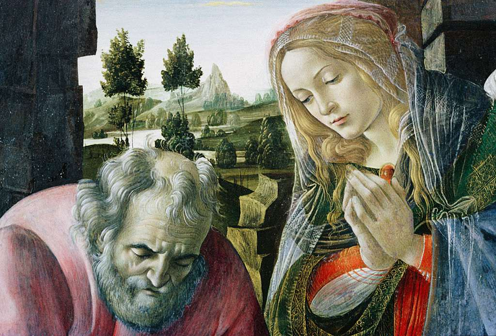 Detail of Mary and Joseph from The Nativity by Follower of Botticelli