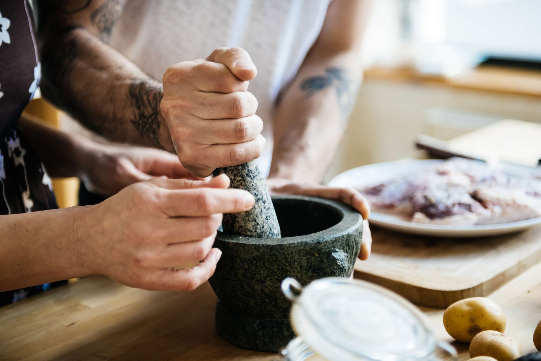 Working with mortar and pestle