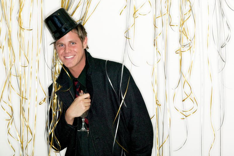 a man celebrating New Year's Eve