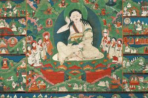 Scenes from the life of Milarepa, from an 18th-19th century Tibetan painting