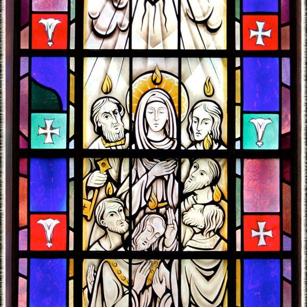 Stained-glass window of Pentecost in Saint Mary's Church, Painesville, OH. (© Scott P. Richert)