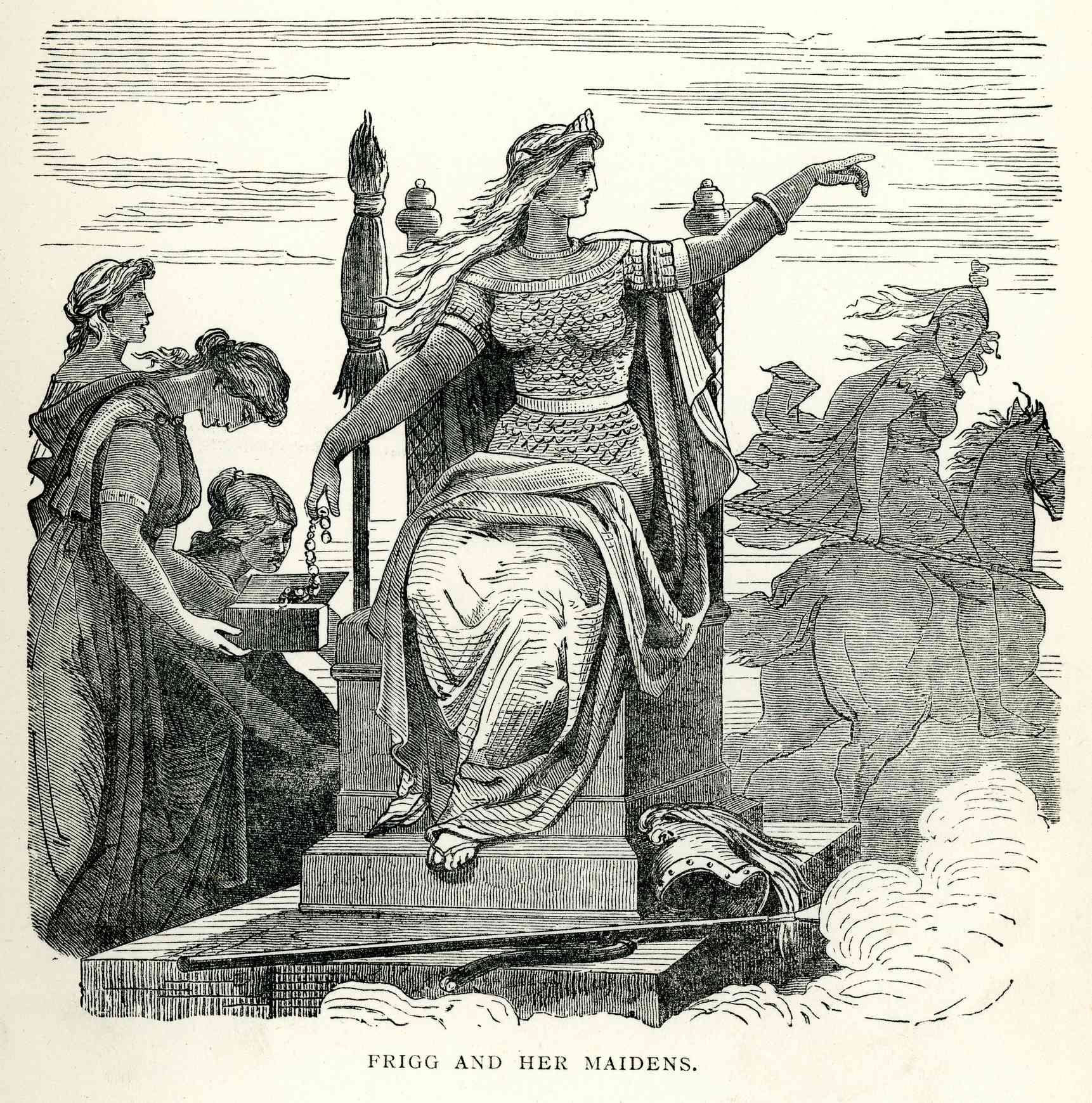 Vintage engraving of the Norse goddess Frigga and her maidens.