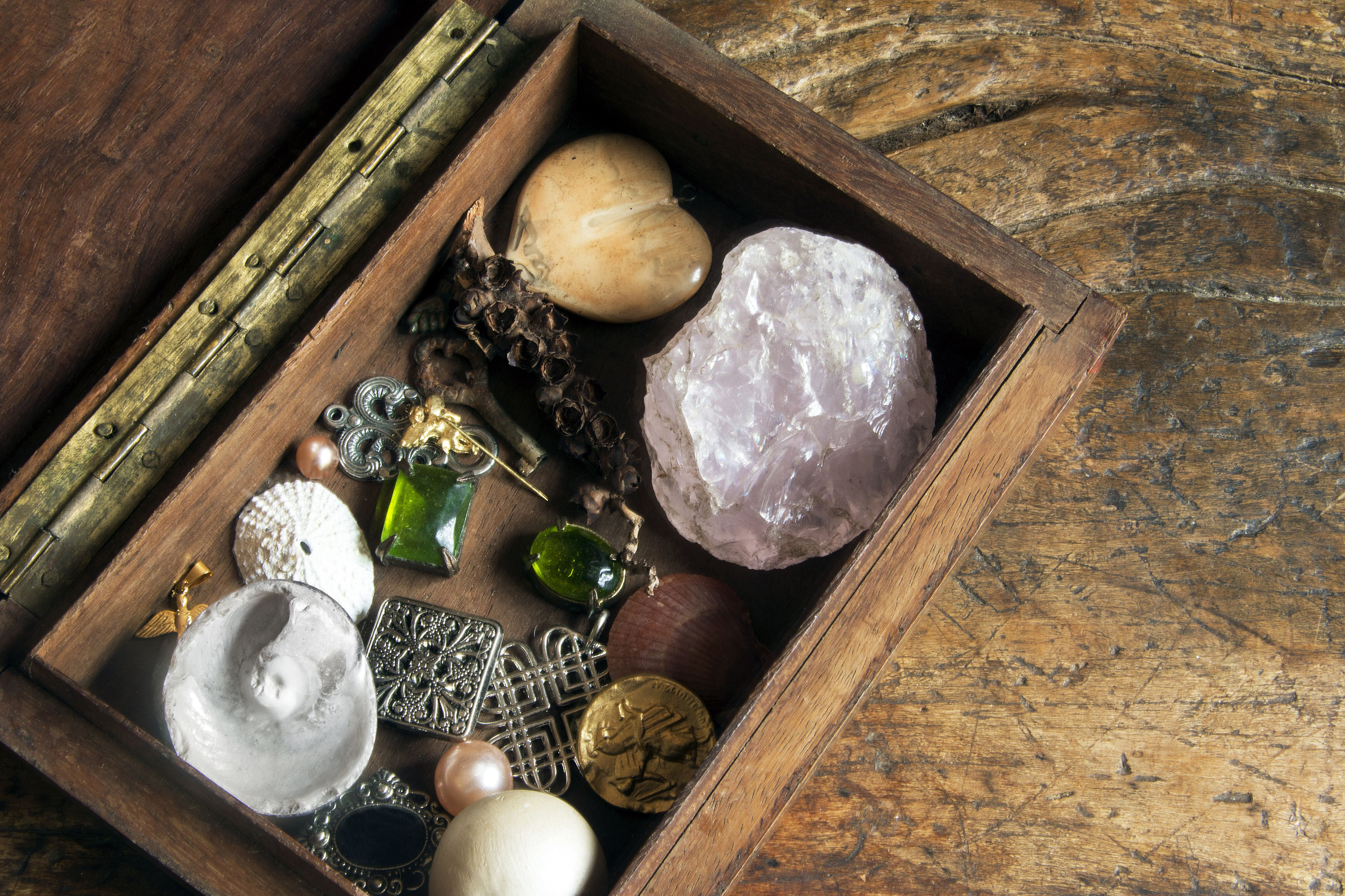 Old box with crystals and jewelry
