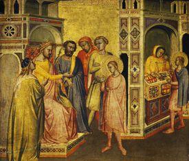 St Eligius before King Clothar, ca 1360, by Taddeo Gaddi (ca 1300- 1366), 14th century