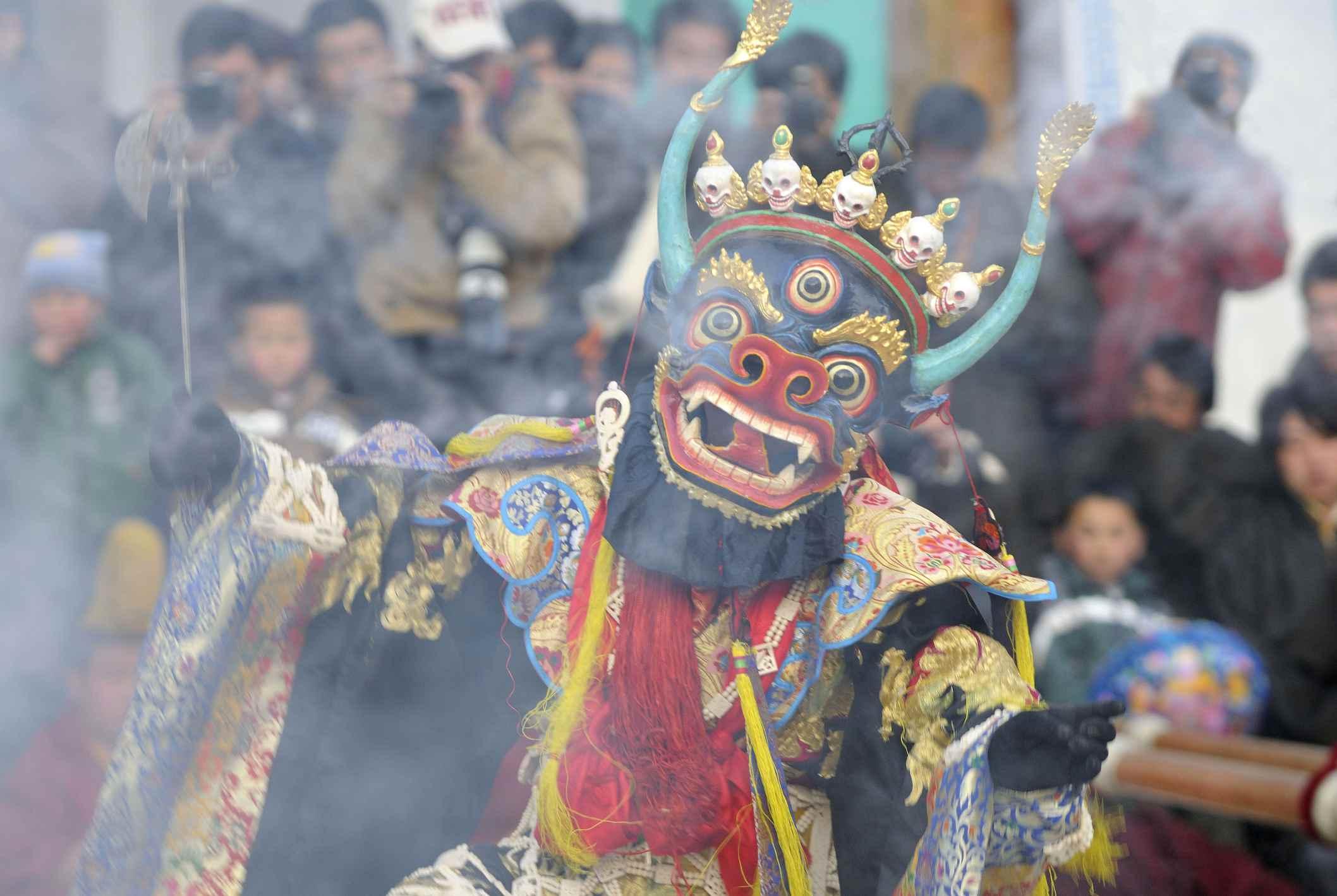 A dancing dharmapala of Lower Wutun monastery, Qinghai Province, China