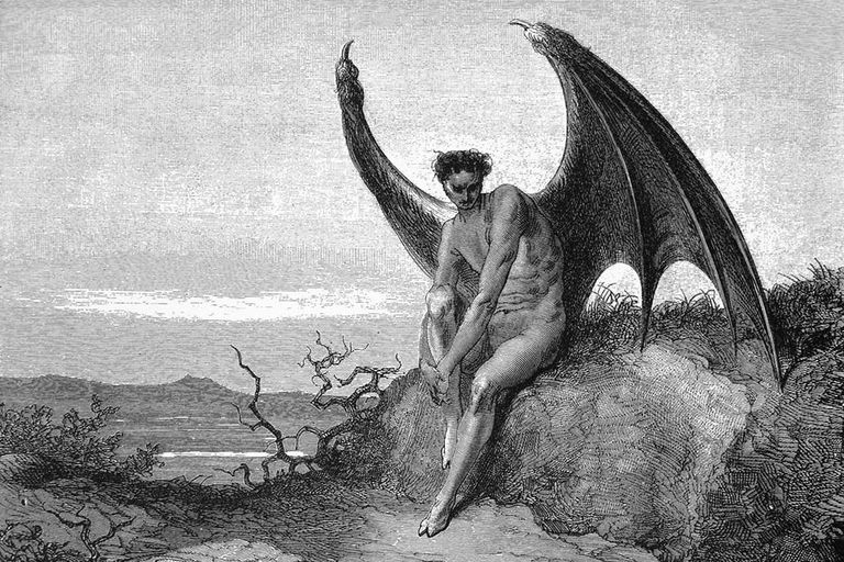 Lucifer, the fallen angel, illustration to Paradise Lost, book IX, 179–187