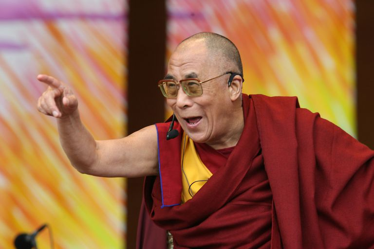 Dalai Lama pointing