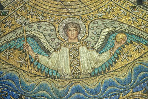 A ceiling mosaic of Saint Archangel Raphael.