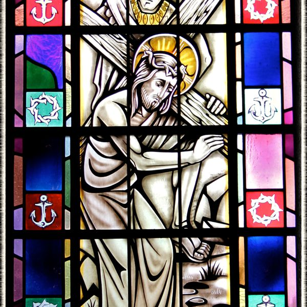 Stained-glass of the Way of the Cross in St. Mary's Church, Painesville, OH. (© Scott P. Richert)