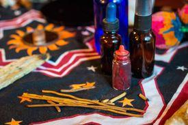 Shaman spiritual tools on the table close up