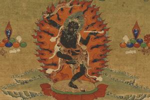 Wrathful dakini; detail from a 19th century Tibetan thangka painting.