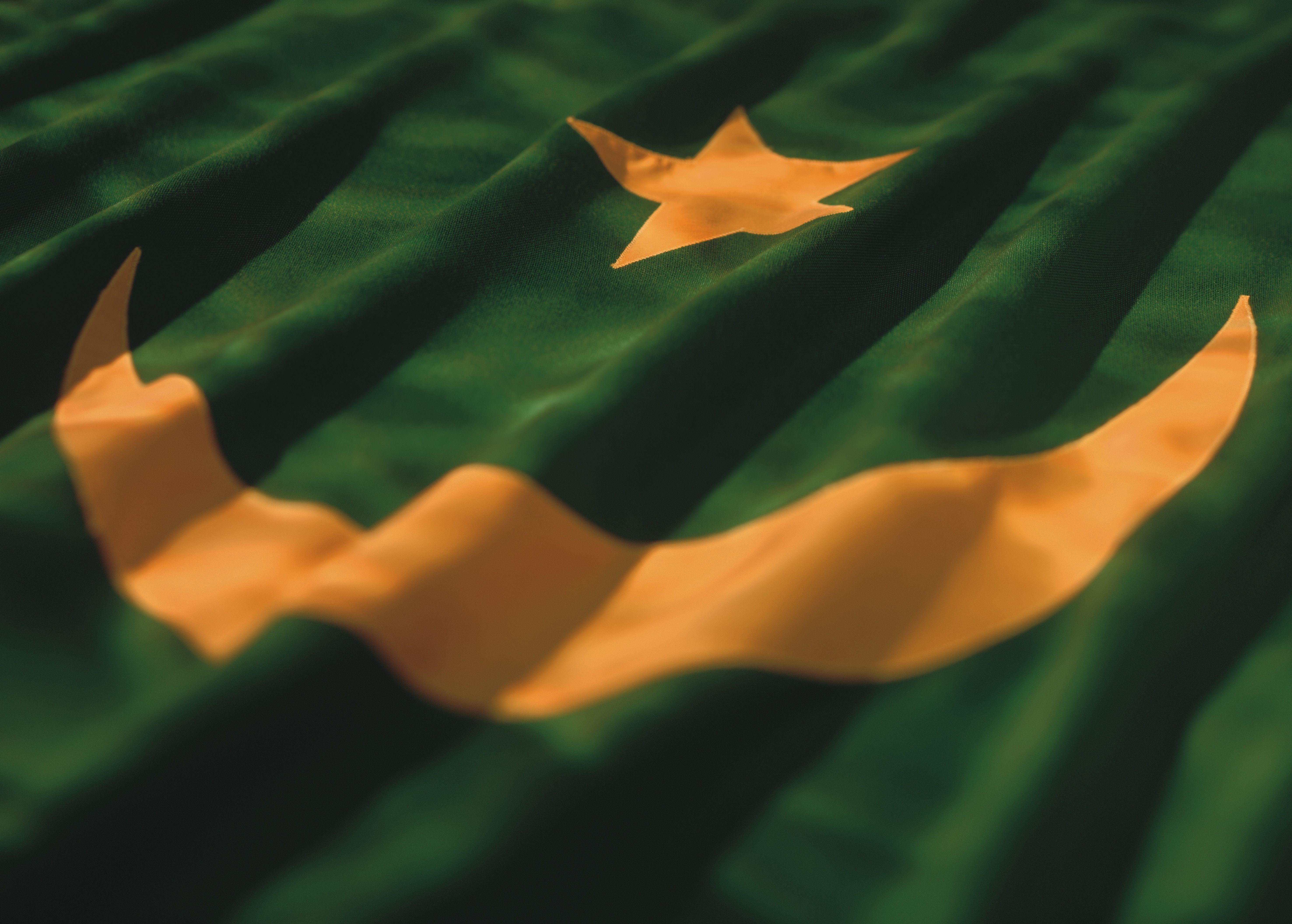 close-up of the flag of Mauritania